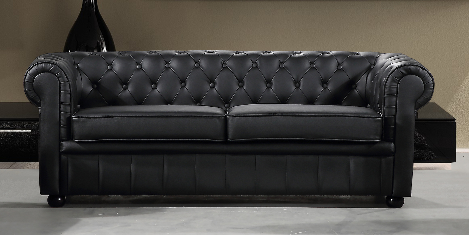 modern chesterfield style sofa black leather. Black Bedroom Furniture Sets. Home Design Ideas