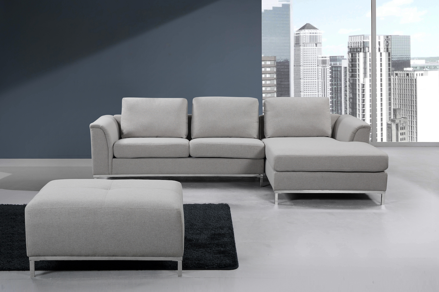 Low Profile Light Grey Fabric Sectional Sofa Furniture That Looks