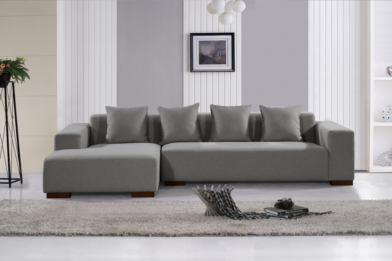 Deep Seating Sectional Sofa Light Grey Fabric