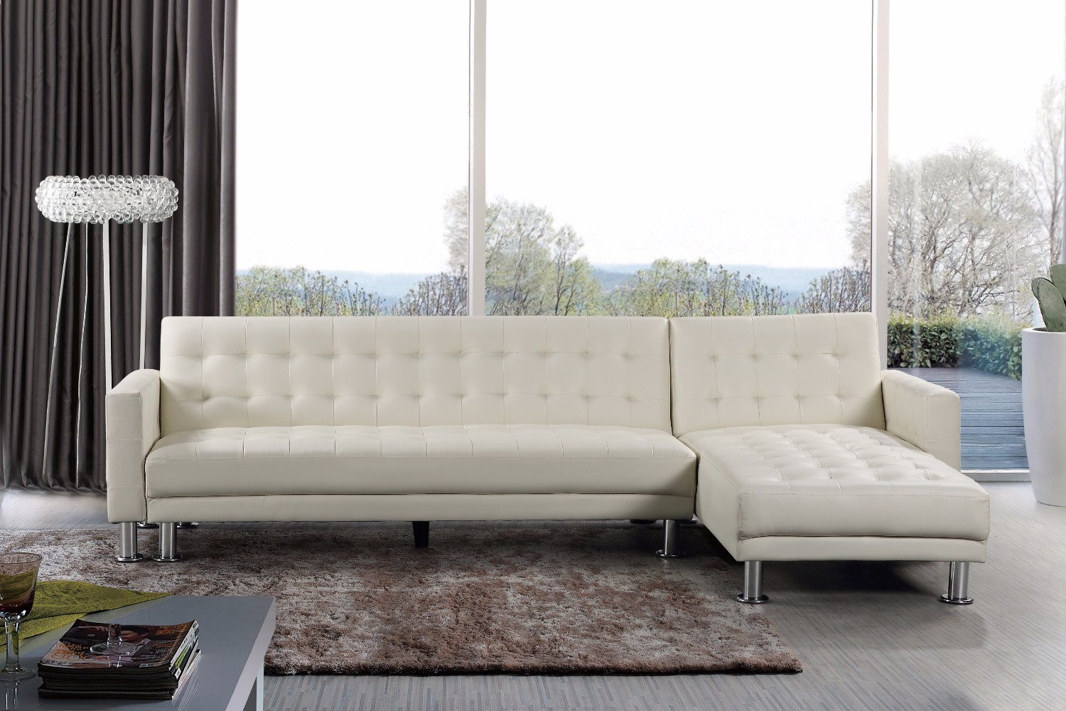 White Leather Sectional Sleeper Sofa