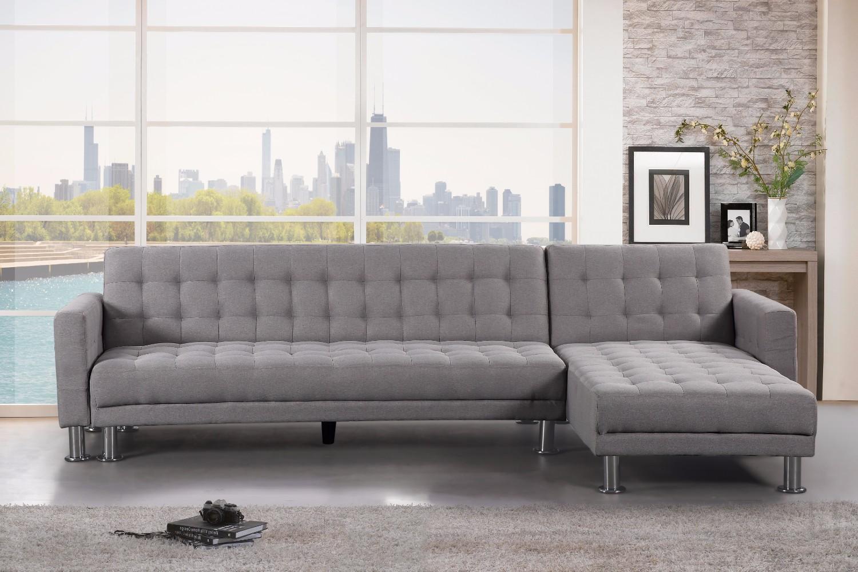 Light Grey Fabric Chaise Sectional Sleeper Sofa