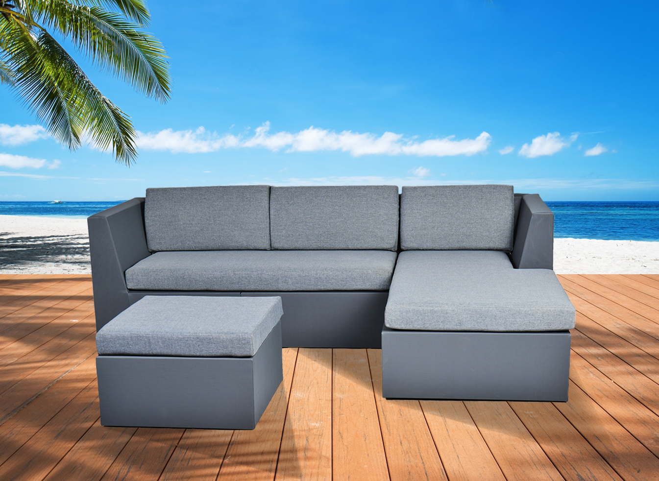 Outdoor Sectional Sofa In Dark Grey Fabric