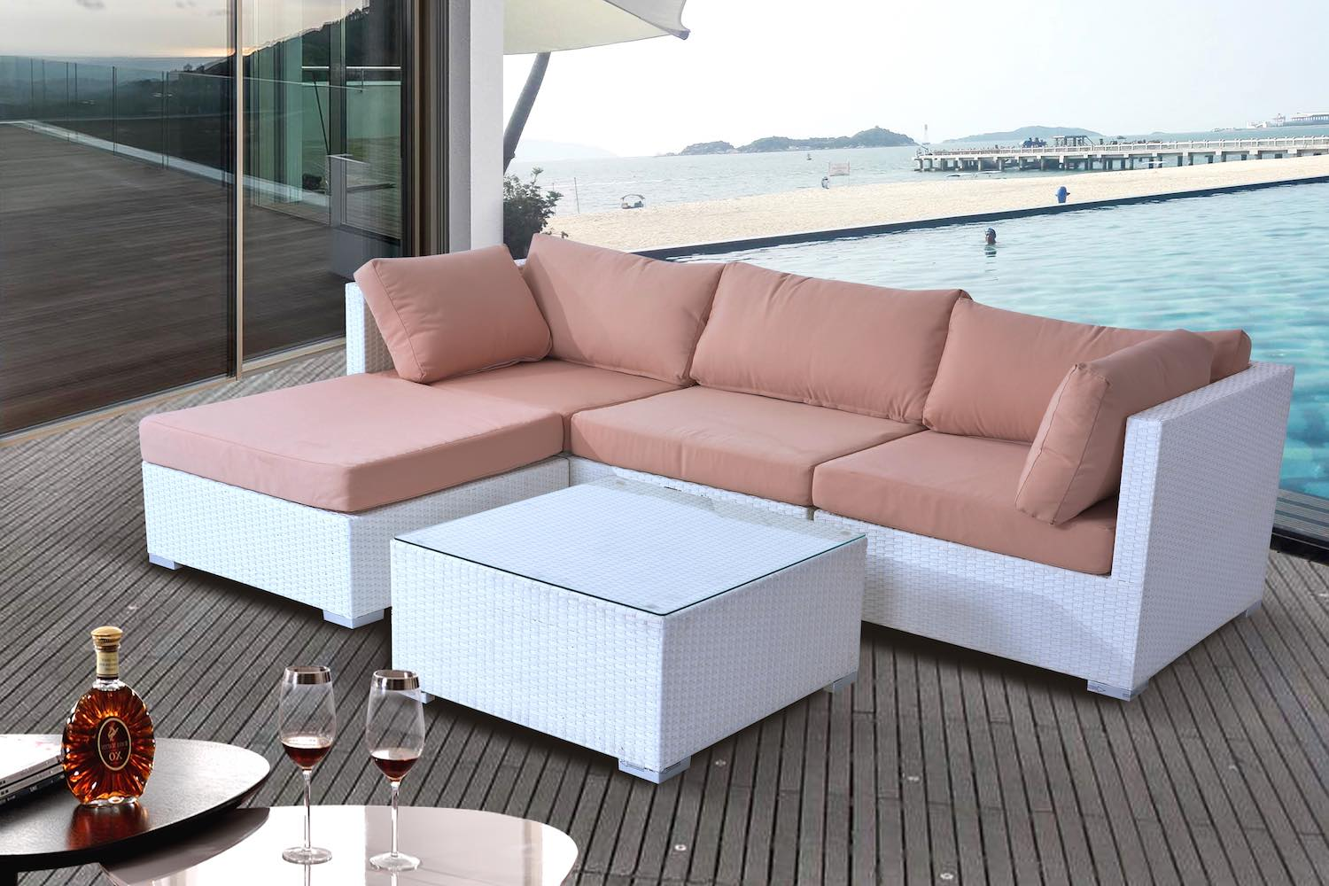 White wicker sectional sofa set patio furniture by velago