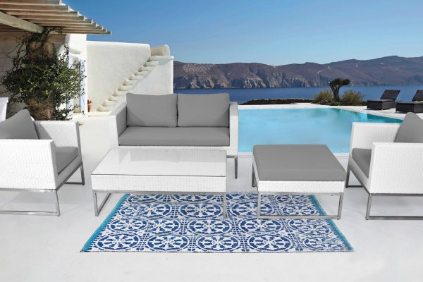 Outdoor Sofa Conversation Set Grey Cushions White Wicker by Velago