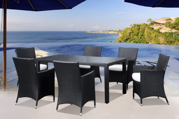 Outdoor 6 Wicker Dining Set