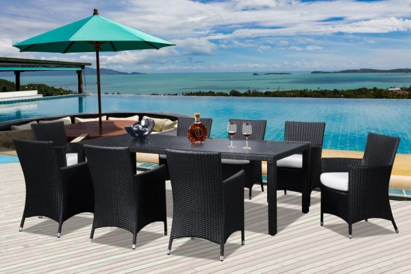 Brown Wicker 8 Person Outdoor Dining Set