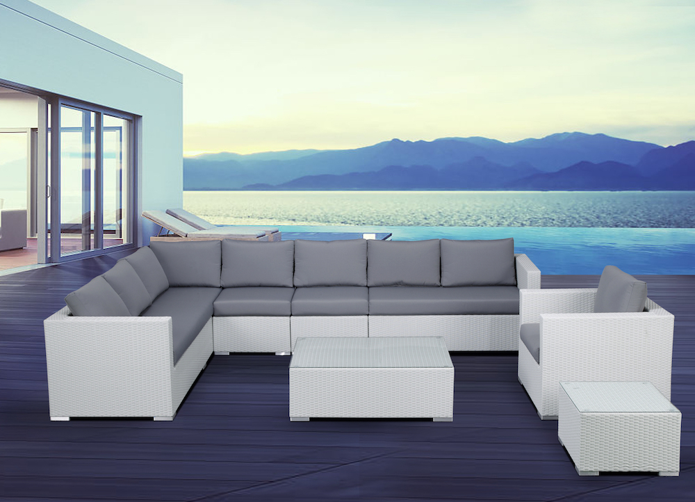 Outdoor Wicker Modular Sectional Sofa Set White Wicker