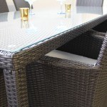 glass table top on outdoor wicker dining set