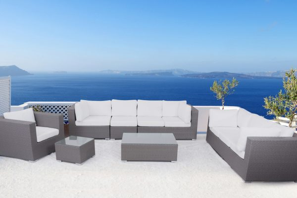 Luxury Grey Wicker Outdoor Seating Set
