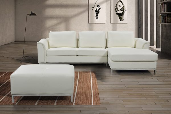 Indoor OLLON Cream Leather Sectional Sofa by Velago