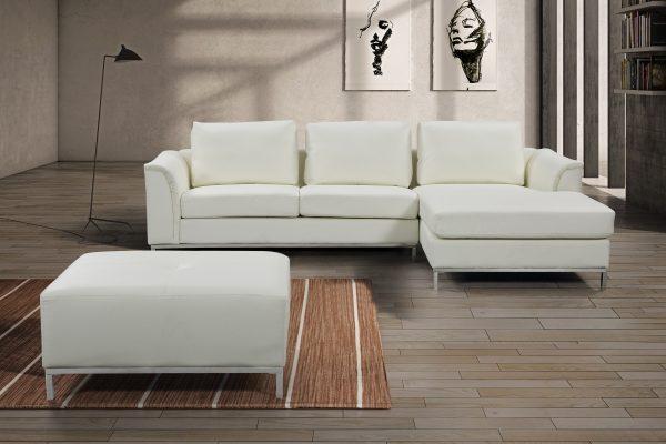 Indoor OLLON Cream Leather Sectional Sofa by Velago