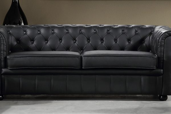 Black AVIGNON Leather Sofa by Velago