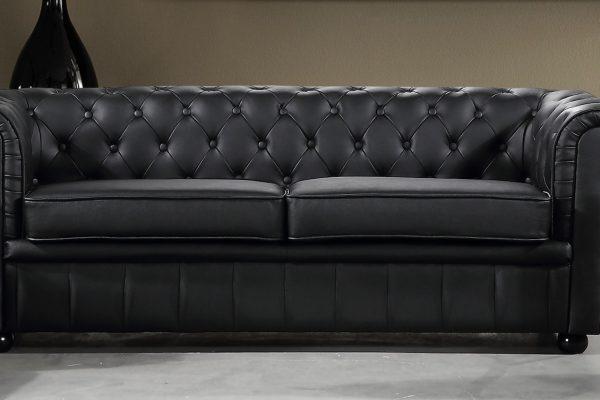 Black AVIGNON Leather Sofa by Velago