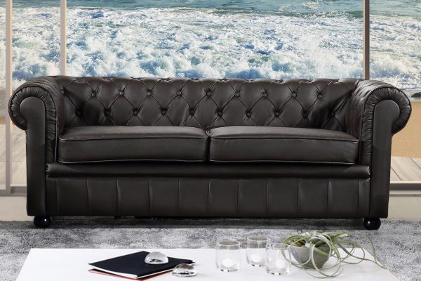 Indoor Brown Leather Sofa By Velago