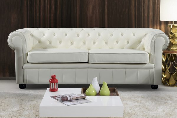Modern AVIGNON Cream Leather Sofa by Velago