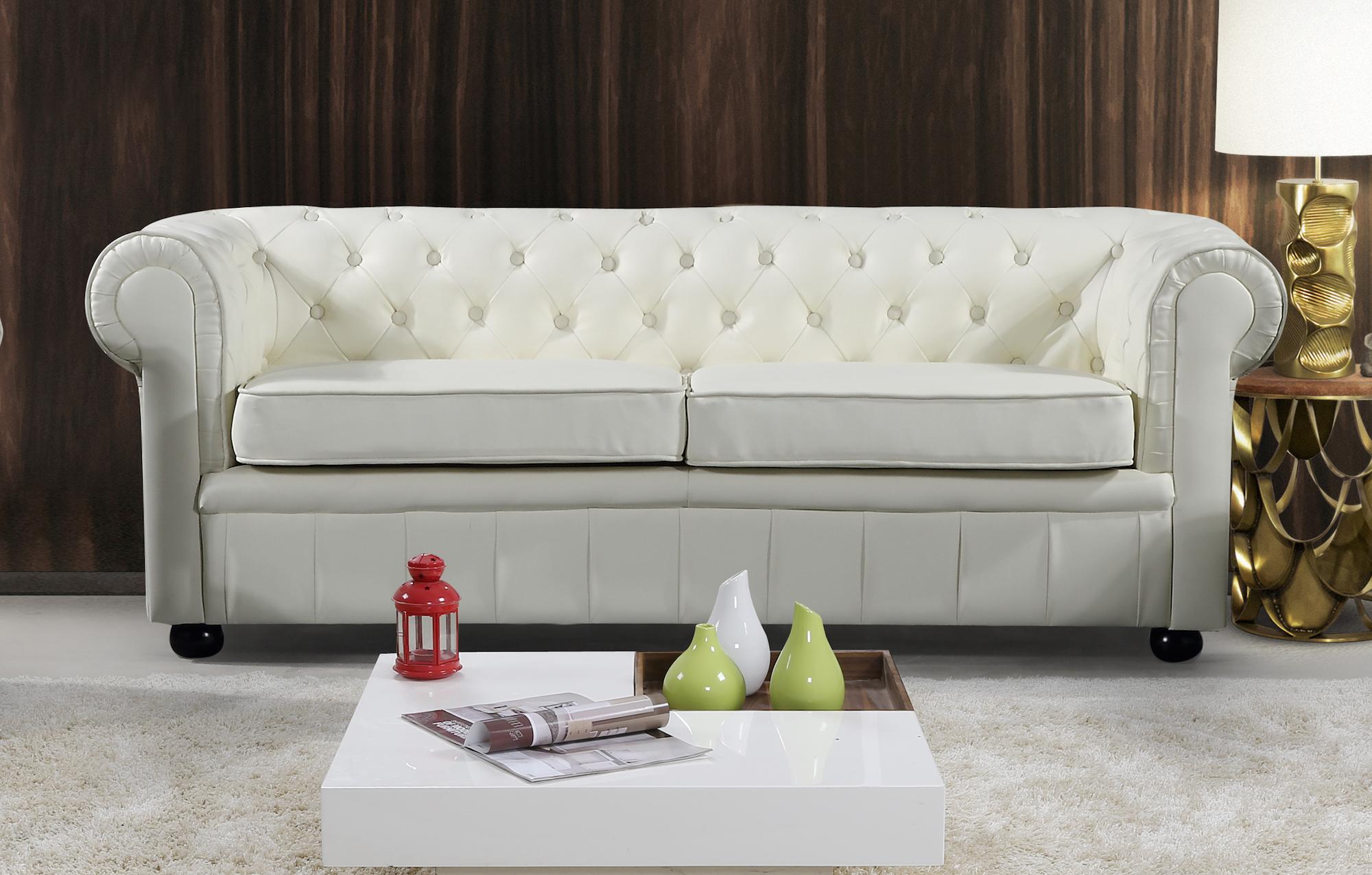 Cream Leather Sofa - AVIGNON