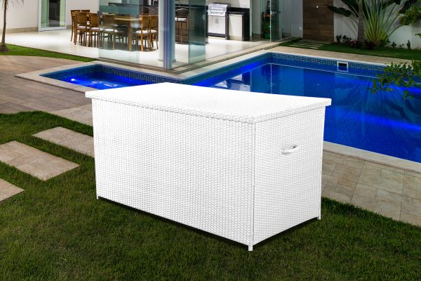 White Wicker CASSONE Cushion Box by Velago