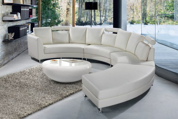 White Leather Circular Sofa