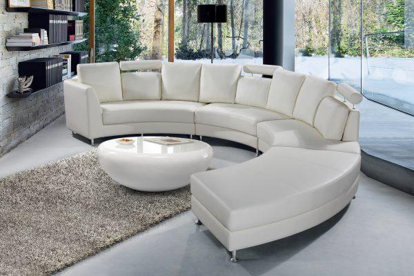 White Leather Circular Sofa