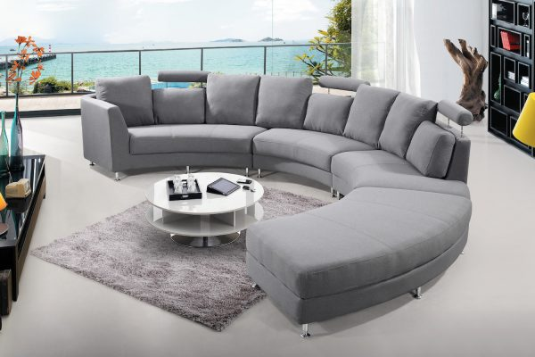 Dark Grey Fabric Circular Sofa
