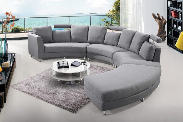 Dark Grey Fabric Circular Sofa