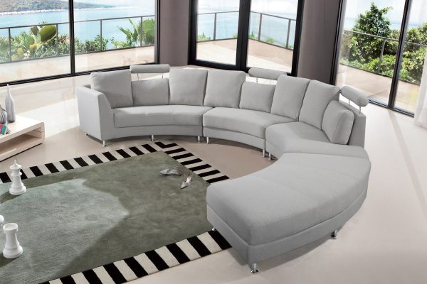 Indoor Light Grey ROSSINI Fabric Circular Sofa by Velago
