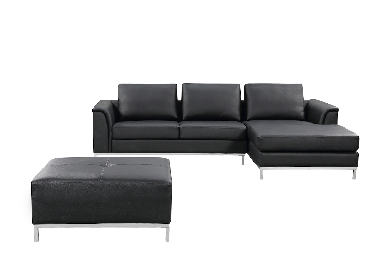 Black Right-Facing Leather Sectional Sofa - OLLON