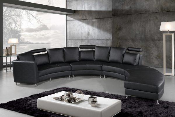 Indoor ROSSINI Black Leather Circular Sofa by Velago