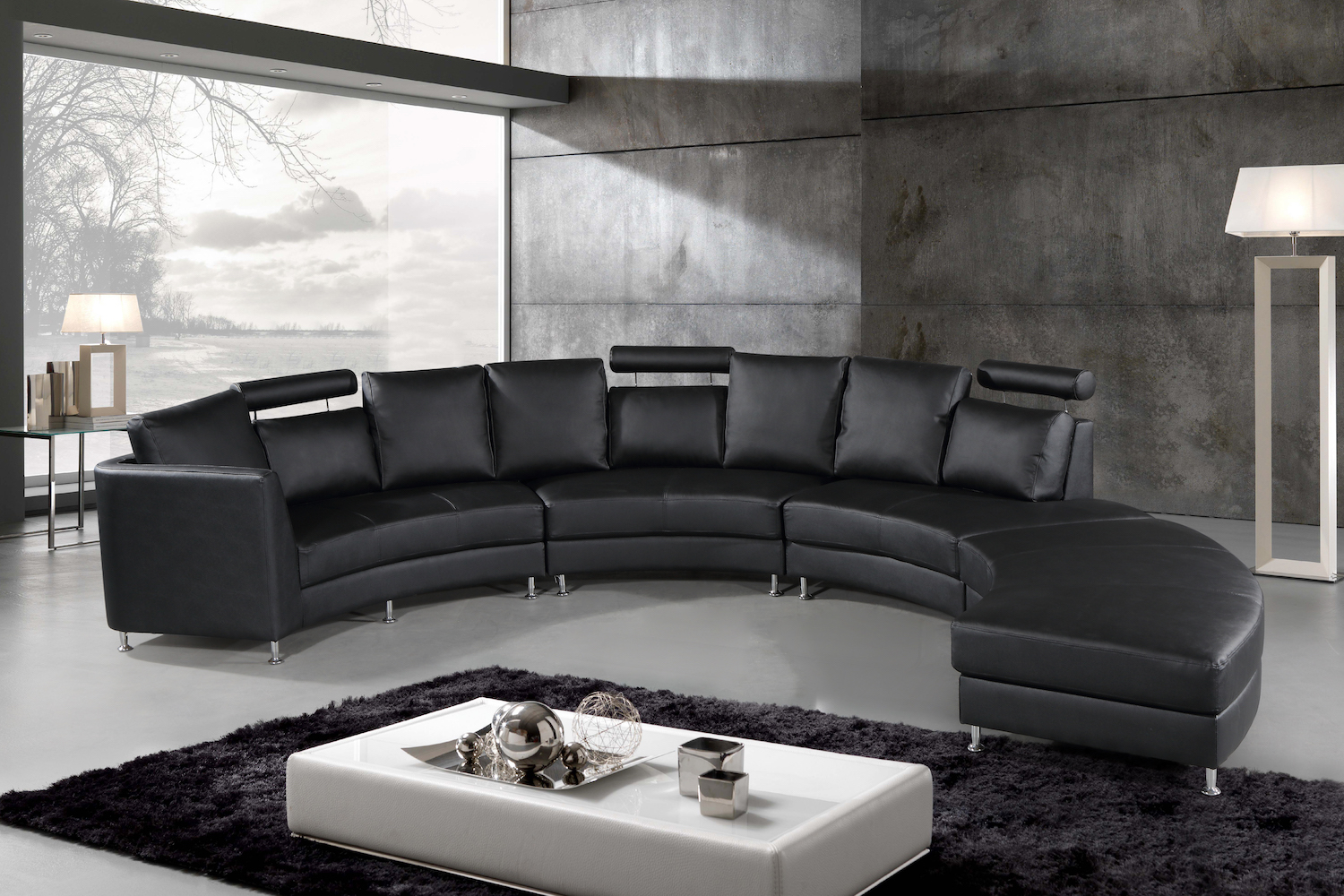 Italian Design Circular Sofa Black Leather