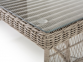 outdoor wicker dining table glass top