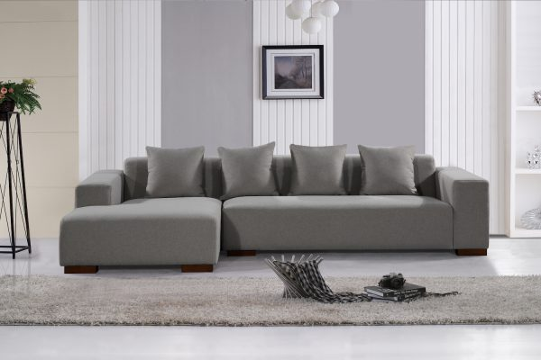 Indoor Sofa Light Grey Fabric Sectional Sofa by Velago