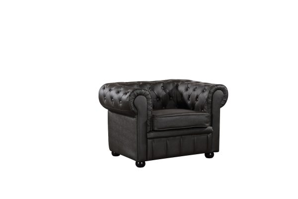 Indoor Brown Leather Modern Chesterfield Armchair by Velago