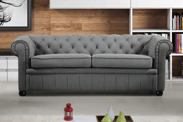 19194_1 Indoor Dark Grey Fabric Modern Chesterfield Sofa by Velago