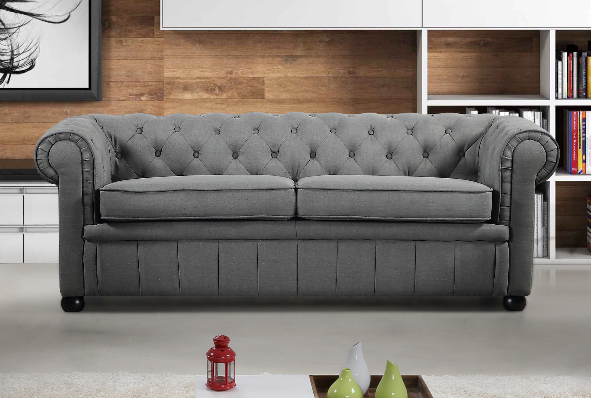 Modern Chesterfield Style Sofa Dark Grey Fabric