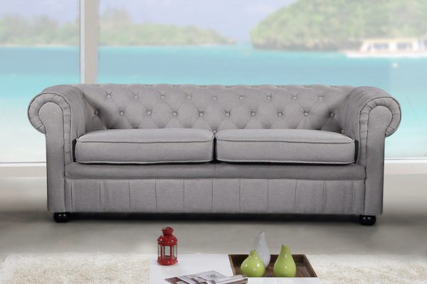 19195_1 Light Grey Fabric Sofa Modern Chesterfield Style by Velago