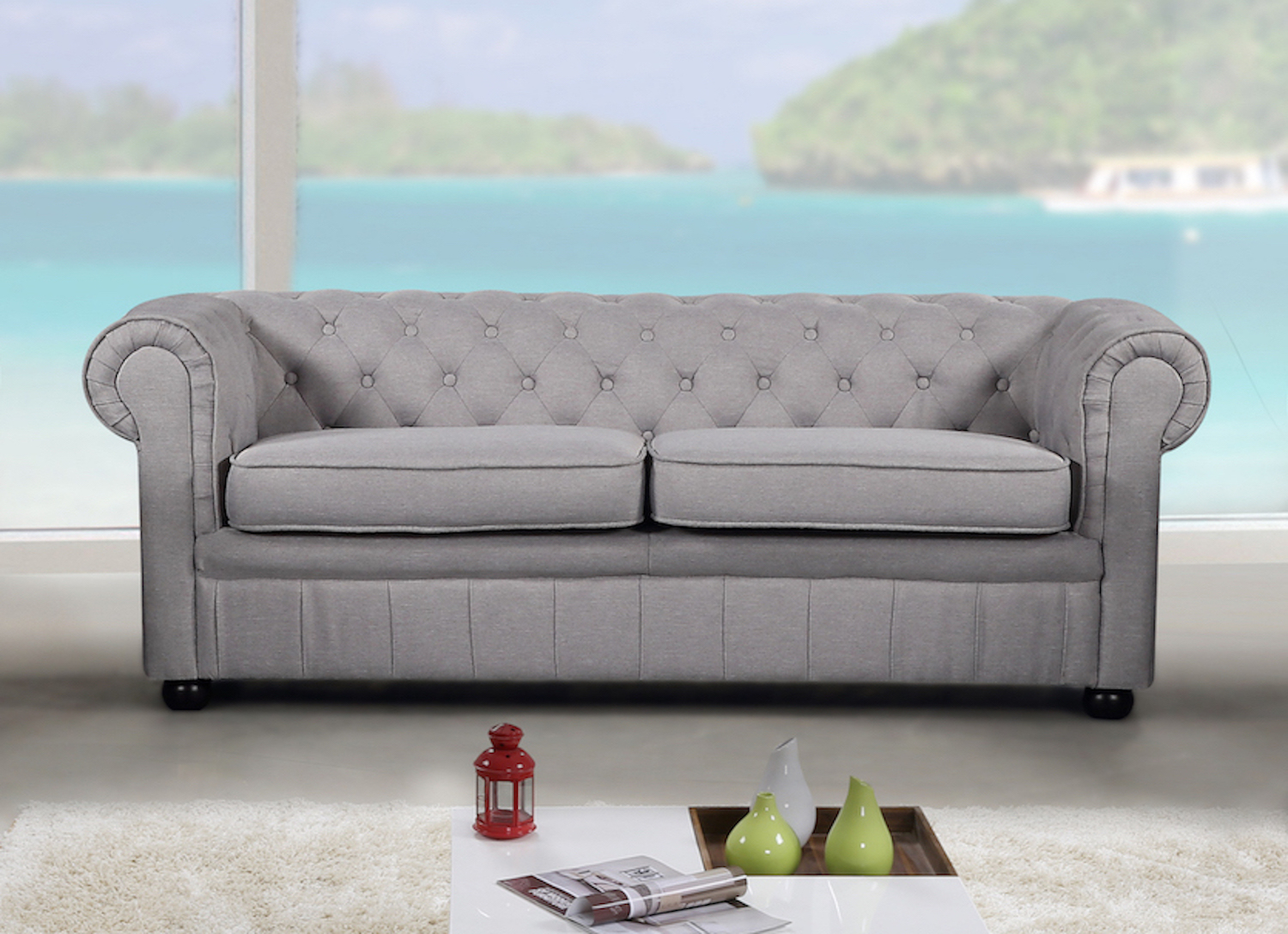 Modern Chesterfield Style Sofa Light Grey Fabric