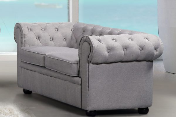 19197 Light Grey AVIGNON Fabric Loveseat Sofa by Velago