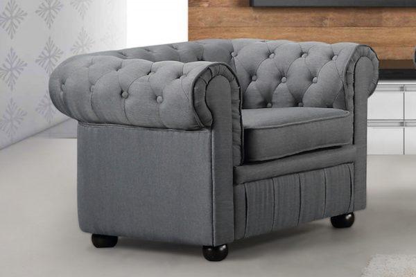 Indoor Dark Grey Avignon Fabric Armchair by Velago