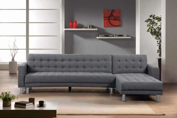 Indoor Sectional Sofa in Dark Grey Fabric by Velago