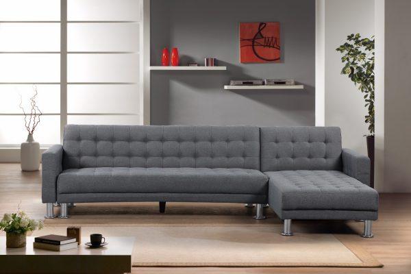 Indoor Sectional Sofa in Dark Grey Fabric by Velago