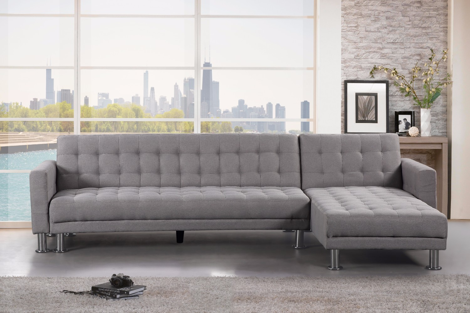 Light Grey Fabric Sectional Sleeper Sofa - ATTALENS