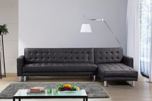 5S4A7842-1 Indoor Sectional Sofa by Velago in Black Leather