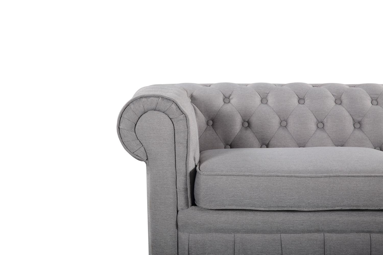 Modern Chesterfield Style Sofa Light Grey Fabric