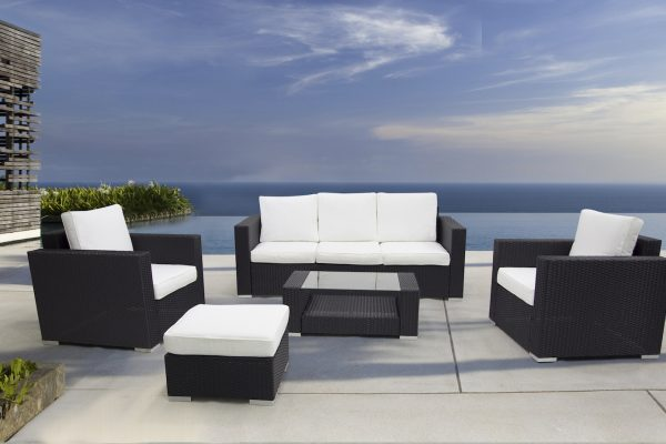 Black Wicker Outdoor Conversation Set