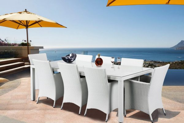 White Wicker Outdoor Dining Set