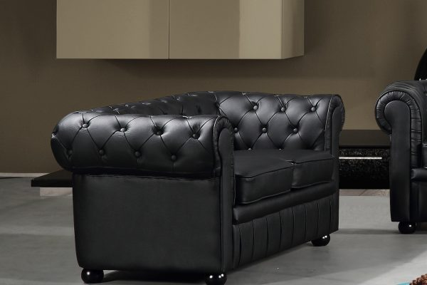Black Leather AVIGNON Loveseat by Velago19191