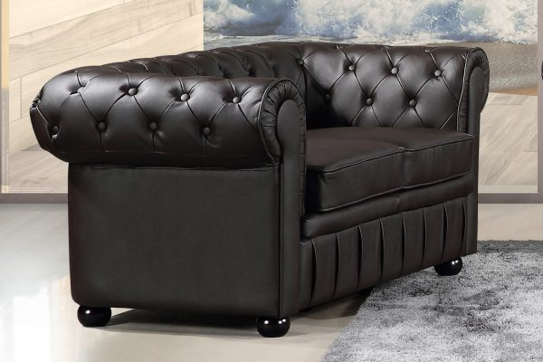 19192 Brown Leather Loveseat Avignon by Velago Indoor