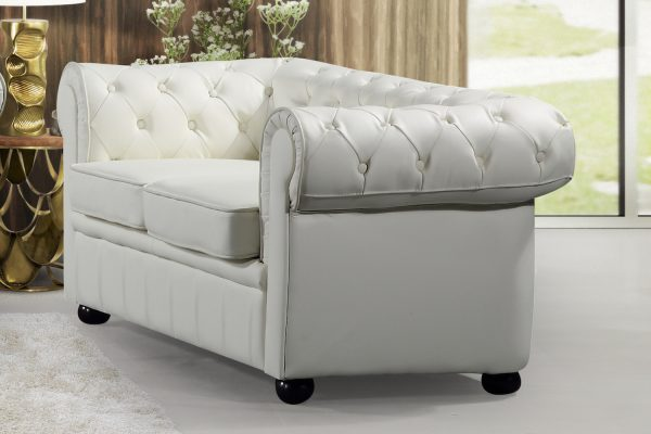 19193 Cream Leather AVIGNON Loveseat by Velago