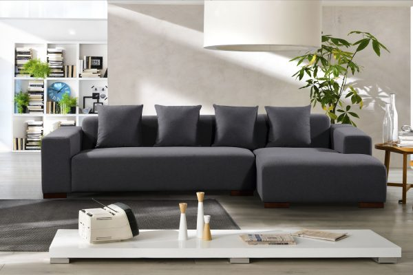 34922 Grey Fabric Sectional Sofa Lyon by Velago