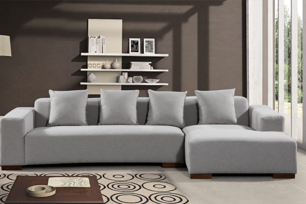 22354 Light Grey Fabric LYON Sectional Sofa by Velago